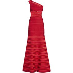 Lillian Mesh Insert Bandage One-Shoulder Gown (35.798.785 IDR) ❤ liked on Polyvore featuring dresses, gowns, long dress, one shoulder long dress, herve leger gown, herve leger dress, red dress and red one shoulder dress
