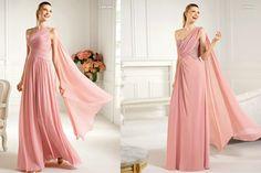 2013 One Shoulder Floor Length Pink Evening Gonws