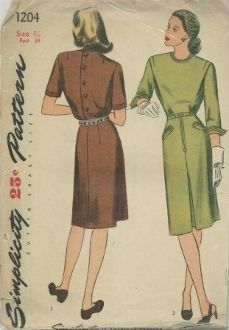An original ca. 1944 Simplicity Pattern 1204.  Misses' and Women's Dress:  The bodice features a tuck at the shoulder front, high, round neckline and button-back closing.  The slim skirt has a front inverted pleat is seamed down the center back.  Welt pockets trim the skirt.  Top-stitching outlines the neck, welt pockets and cuff of the three-quarter length sleeve of lower edge of the short sleeves.