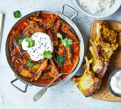 A showstopping family curry, perfect for a special occasion. Pair the chunky spiced aubergine and turmeric-coated lamb cutlets with rice and cooling yogurt Bbc Good Food Recipes, Veggie Recipes, Healthy Dinner Recipes, Cooking Recipes, Healthy Dinners, Healthy Eats, Vegetarian Recipes, Curry, Aubergine Recipe