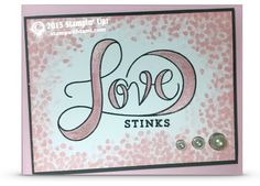 """stampin up love stinks set of valentines day cards. ——— Stampin Up Supplies • Countless Sayings 1 Photopolymer Stamp Set #135892 • Countless Sayings 2 Photopolymer Stamp Set #135893 • Sheltering Tree Photopolymer Stamp Set #137163 • Blushing Bride Classic Stampin' Pad #131172 • Basic Gray Classic Stampin' Pad #126981 • Blushing Bride 8-1/2"""" X 11"""" Cardstock #131198 • Basic Gray 8-1/2X11 Card Stock #121044 • Whisper White 8-1/2X11 Card Stock #100730 • Stampin Write Markers - Subtles Collectio..."""