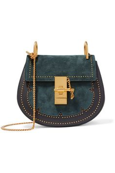 b1b65c180d78 Chloé - Drew Mini Studded Suede And Leather Shoulder Bag - Midnight blue
