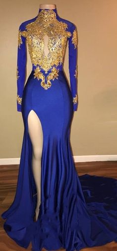 Prom Dress Princess, Elegant Royal Blue 2018 Prom Dress Mermaid Long Sleeve With Appliques Shop ball gown prom dresses and gowns and become a princess on prom night. prom ball gowns in every size, from juniors to plus size. Royal Blue Prom Dresses, Elegant Bridesmaid Dresses, Gold Prom Dresses, Prom Outfits, Prom Dresses Long With Sleeves, Tulle Prom Dress, Mermaid Evening Dresses, Trendy Dresses, Homecoming Dresses