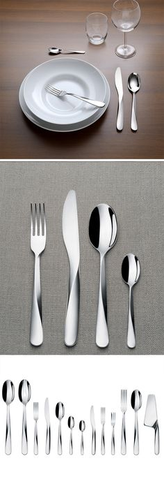 "This chic cutlery named ""Giro"" (from the Italian word for ""turn"") for both its twist in the geometry and how the cutlery is turned in your hand when finding the best position for use."
