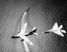 "xplanes: ""Douglas Skywarrior and North American Vigilante over the USS Ranger. Us Military Aircraft, Navy Aircraft, Military Jets, Fighter Aircraft, Fighter Jets, War Jet, Jet Plane, Aviation Art, Aircraft Carrier"