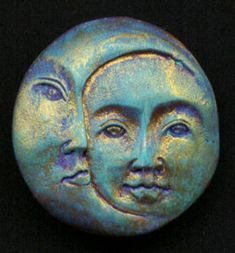 Polymer Clay Sun and Moon Cab SMC 2 by linsart on Etsy I want to make a sun/moon that has my face in it. Polymer Clay Charms, Polymer Clay Projects, Polymer Clay Art, Polymer Clay Jewelry, Clay Beads, Clay Earrings, Sun Moon Stars, Sun And Stars, Clay Faces