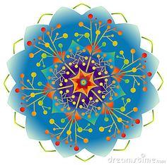 Single Mandala - Flower / Nature / Energy in Rainbow Colors.