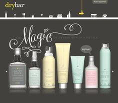 Drybar website   product showcase   whimsical type   simplistic color choices   illustrated nav bar