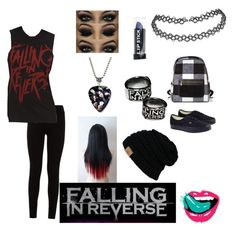 """""""Falling in reverse starter pack"""" by nadieglaze on Polyvore featuring 7 For All Mankind and Vans"""