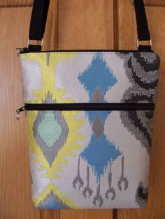 Ikat Mod White Blue Yellow Silver Black Small by BHipBags on Etsy, $32.00