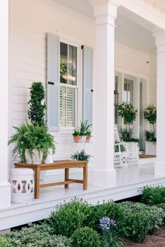 65 Stunning Farmhouse Front Porch Makeover Ideas - nearra news Front Porch Columns, Farmhouse Front Porches, Front Porch Design, Southern Front Porches, Front Porch Posts, How To Build Porch Columns, Front Porch Chairs, Front Porch Seating, Front Porch Garden