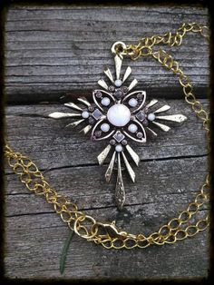 Golden Pendent Necklace by CosmicOddities on Etsy, $8.00
