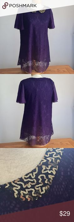 "Royal Purple lace top with chiffon sleeves. Royal Purple lace top with chiffon sleeves. Has gold sequin collar. Size is 21"" across the bust and 32"" long. Tops"