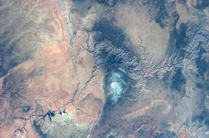 """""""The magnificent desolation of the Grand Canyon. La magnifica desolazione del Grand Canyon"""" (1/2), Astronaut Luca Parmitano. North is ib the bottom of the picture."""