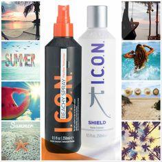 """Qué ganas teníamos de presentaros """"Shield""""!!! Un poderoso tratamiento repleto de proteínas. Utilízalo durante 21 días contínuos sobre el cabello mojado como tratamiento intensivo durante este verano. El calor del sol hará que penetre profundamente fortaleciendo su estructura, y al final del día, lávalo!! Verás que cambio! Y AHORA consigue este Pack especial, compuesto por el Spray ICON Beachy, un texturizador flexible que hidrata, protege y repara e ICON Shield, que te dará fuerza y…"""