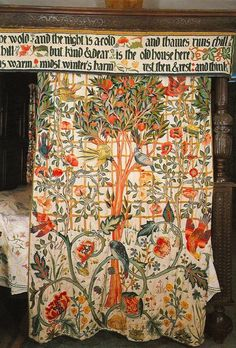 William Morris' bed curtain designed & embroidered by his daughter, May Morris. At Kelmscott Manor, Gloucestershire.