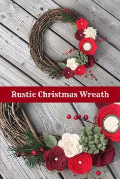 I love this rustic looking wreath for Christmas! The felt flowers on it are so pretty and bright! Christmas Wreath, Christmas Felt Flower Wreath, Christmas Grapevine Wreath, Christmas Decor, Rustic Christmas Wreath #affiliate