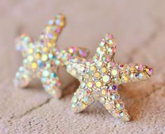 Sparkling Starfish Stud Earrings,Crystal AB Rhinestone Starfish,Ocean,Beach Wedding,Bridal,Nautre,Rhinestone Stud Earrings,Northern Lights | hangingbyathread1 Etsy Shop