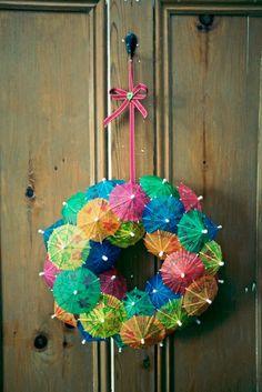 Cool!! Cocktail umbrella Wreath.