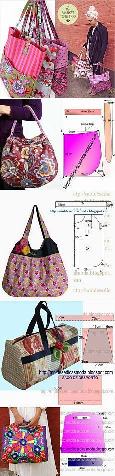 Denim bag and synthetic details. Super beautiful, can … – All Bag Models Patchwork Bags, Quilted Bag, Bag Patterns To Sew, Sewing Patterns, Tote Pattern, Sacs Tote Bags, Diy Sac, Purse Tutorial, Tutorial Sewing