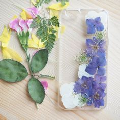 The Blue Violet Hydrangea pressed flower phone case