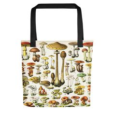A spectacular renderings of mushrooms, champignons, funghi, and more! This gorgeous vintage art is stunning on this rugged fabric bag.