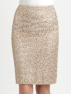 Kay Unger Sequined Lace Pencil Skirt