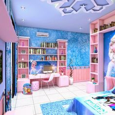 Frozen Bedroom , Bedrooms For Girls With Frozen Movie Theme. To Reinforce  The Frozen Theme Given Variations In The Room With Accents Of Sn.