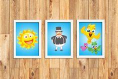 Trio de quadros Mundo Bita    Especificações dos quadros:  - tamanho: 24cm x 33cm (impressão A4)  - quadro de madeira com vidro  - moldura branca ou preta  - ilustração em papel fotográfico    Imagem meramente ilustrativa.