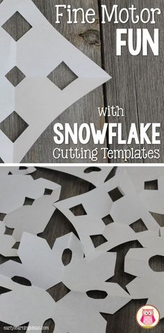 Young kids can experience success in cutting paper snowflakes by using snowflake cutting templates. This is a great way to motivate kids to practice scissor skills and work on fine motor skills.