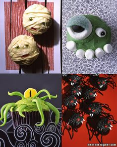 Creepcake Cupcakes -  Though you might expect frosted cupcakes to have sugary personalities, don't be fooled. These desserts have a dark side, which we've coaxed out with common candies.