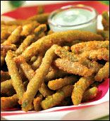 Green bean fries with wasabi cucumber ranch dip