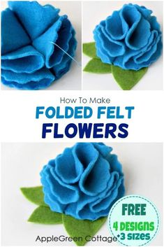 How to make felt flowers with 4 free flower templates. An easy-sew tutorial to make folded felt flowers, one of the easi Felt Flower Template, Ribbon Flower Tutorial, Bow Tutorial, Felt Templates, Felt Flowers Patterns, Felt Animal Patterns, Bead Patterns, Weaving Patterns, Bracelet Patterns
