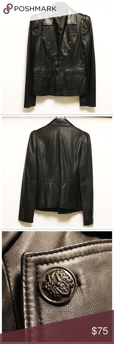 Black Soft Leather Jacket-Sz L INC black buttery soft leather jacket. Hook closure at waist in front. Worn maybe twice. Beautiful detailing on buttons! Smoke free, pet free home. Necklace is not included but is available in another listing. Bundle for a special offer! INC International Concepts Jackets & Coats Blazers