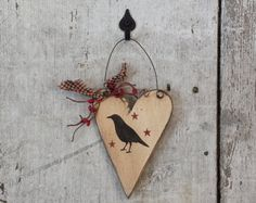 Primitive Counbtry Crow on Small Milk Can by FlatHillGoods on Etsy