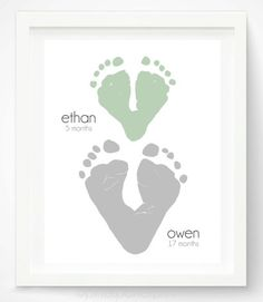 Personalized Father's Day Gifts for Him:  Personalized Footprint Hearts Artwork Print for 2 Kids by Pitter Patter Print @ Etsy
