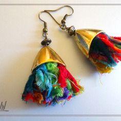Boucles d'oreille textiles, franges de tissu multicolore