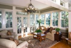 Sunroom with view of patio