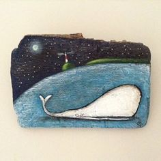 The Big White Whale by Claire Brierley #wood #driftwood #whale #art #lighthouse