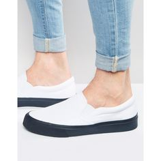 ASOS Slip On Sneakers in White With Navy Sole ($15) ❤ liked on Polyvore featuring men's fashion, men's shoes, men's sneakers, white, mens slipon shoes, mens white shoes, navy blue mens shoes, mens slip on sneakers and mens navy shoes