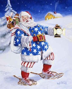 A Star to Guide Him by Joseph Holodook ~ patriotic Santa