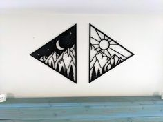 Simple Couples Tattoos, Moon Sun Tattoo, Black Accent Walls, Wall Decor, Wall Art, Bedroom Decor, Colored Contacts, Laser Cutting, Wood Crafts
