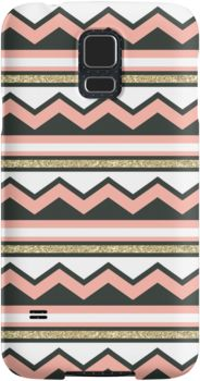 """$31.50 """"Coral and Gold Chic Chevron and Glitter Stripes"""" Samsung Galaxy s5 s4 s3 Cases & Skins by phantomprint 
