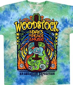 Liquid Blue Woodstock Music Festival Black T-Shirt Tee. Officially Licensed Woodstock Graphic T-Shirt, Tee, Tye Dye designed, dyed and printed in the USA by Liquid Blue. Woodstock Poster, Woodstock Music, Woodstock Festival, Hippie Peace, Hippie Love, Hippie Art, Concert Posters, Peace And Love, Anos 60