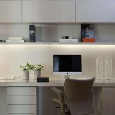 Home Office com piso de Taco