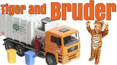Tiger Playing With The Orange Bruder Garbage Truck #toytrucks #garbagetrucksrule