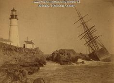 Annie C. Maguire shipwrecked at Portland Head Light, Cape Elizabeth, Maine, ca. 1887. Purchase reproductions online, www.VintageMaineImages.com