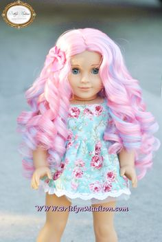 """""""Cotton Candy Curls""""  Premium doll wig for 18 inch dolls like American Girl.  Now listed in our store!  Limited quantities."""