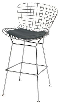 Woven Wire Bar Stool with Upholstered Cushion and Steel Frame