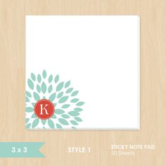 Personalized Sticky Note // Teal Blooming Blossom with Monogram by k8inked, $8.50